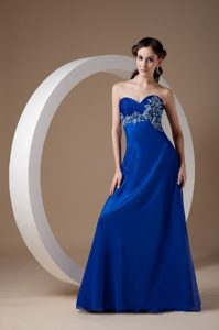Fresno Royal Blue Brush Train Homecoming Dance Dress with Appliques