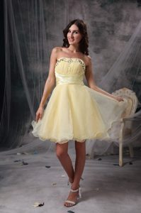 Encino Light Yellow A-line Beaded and Ruched Junior Homecoming Dress