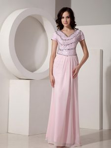 Baby Pink Beaded Empire V-neck Long Homecoming Dresses in Addison