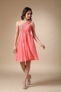 Watermelon Beaded A-line Inexpensive Valdosta Homecoming Dress