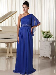 Royal Blue Beaded Empire Long Junior Homecoming Dresses with Ruches