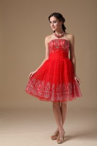 Vacaville Red Strapless Lace-up Princess Homecoming Princess Dresses