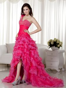 Dublin Pink One shoulder Celebrity Homecoming Dress with Brush Train
