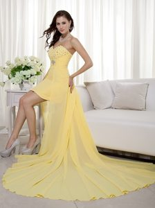 Yellow Beaded Sweetheart High-low Column Homecoming Dress for Prom
