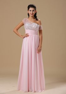Baby Pink Asymmetrical Neckline Party Dress for Homecoming Berkeley