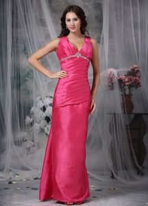 Fuchsia Straps Ruched Appliqued Vintage Dress for Homecoming Party in Regina