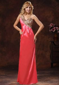 Column One-Shoulder Leopard and Watermelon Homecoming Princess Dress