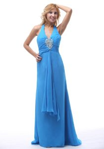 Blue Halter Court Train Appliqued Ruched Homecoming Dress for Prom in Windsor