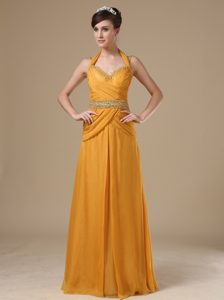 Dark Yellow Halter Spaghetti Straps Ruched Homecoming Dress for Prom in Surrey