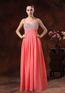 Peach Beaded Straps Floor-Length Pleated Homecoming Princess Dress in Winnipeg