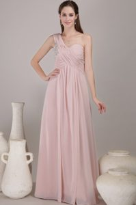 Baby Pink One-Shoulder Ruched Appliqued Floor-Length Homecoming Queen Dress