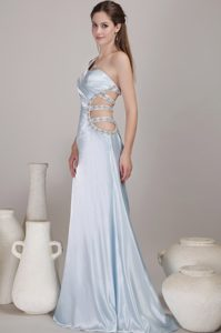 Baby Blue One-Shoulder Brush Train Beaded Homecoming Dress with Cutout Waist