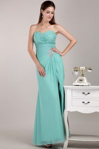 Aqua Blue Sweetheart Ruched Applique Homecoming Queen Dress with Slit