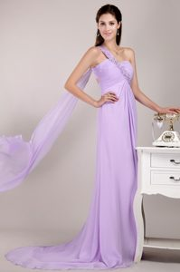 Lavender One-Shoulder Appliqued Court Train Homecoming Dress with Watteau