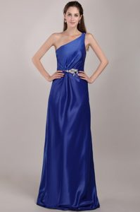 Royal Blue One-Shoulder Appliqued Homecoming Dress with Lace-up Back
