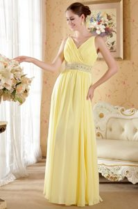 Light Yellow V-Neck Floor-Length Ruched Beaded Homecoming Queen Dress