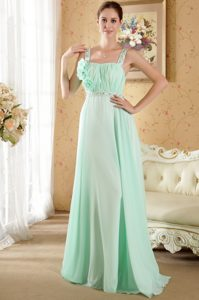 Light Green Floor-Length Straps Ruched Homecoming Princess Dress with Flower