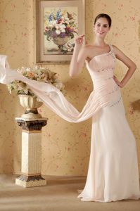 Baby Pink Asymmetrical Beaded Homecoming Dress with One-Shoulder Watteau