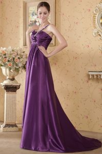 One-Shoulder Beaded Brush Train Purple Homecoming Dress for Prom with Bow
