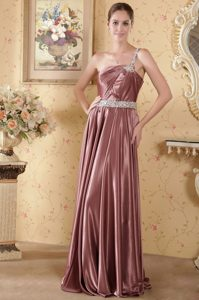 Elegant One-Shoulder Brush Train Beaded Pleated Homecoming Dress in Caledon