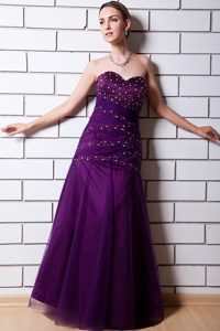 Purple Sweetheart Floor-Length Beaded Homecoming Princess Dress in Welland