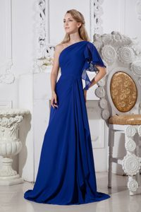 Royal Blue One-Shoulder Brush Train Column Vintage Homecoming Dress