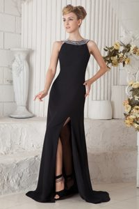 Column Black Bateau Brush Train Beaded Straps Homecoming Dress with Slit