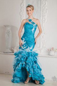 Blue Asymmetrical Mermaid Hi-Lo Appliqued Ruffled Homecoming Dress with Flowers