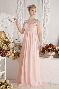 Baby Pink Sweep-Floor Beaded Straps Ruched Homecoming Princess Dress
