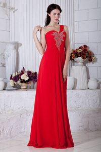 Red One-Shoulder Brush Train Ruched Party Dress for Homecoming in Newmarket