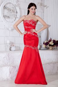 Red Sweetheart Embroidered Mermaid Floor-Length Vintage Homecoming Dress