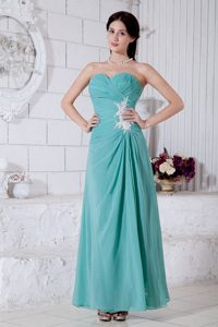 Turquoise Sweetheart Ankle-Length Ruched Appliqued Homecoming Dress in Sarnia