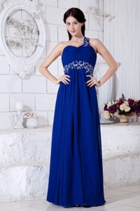 Royal Blue One-Shoulder Ruched Appliqued Homecoming Dress with Cutout Back