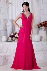 Fuchsia V-Neck Beaded Brush Train Homecoming Dress with Criss Cross Back