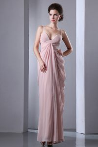 Baby Pink Column Spaghetti Straps Ankle-Length Drapped Homecoming Dress