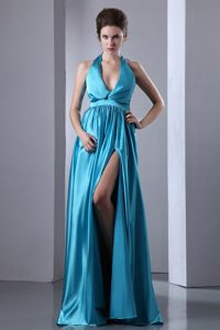Teal V-Neck Halter Sweep-Floor Vintage Homecoming Dress with High Slit in Brossard