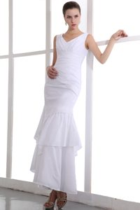 V-Neck White Straps Mermaid Ankle-Length Layered Homecoming Dress with Appliques