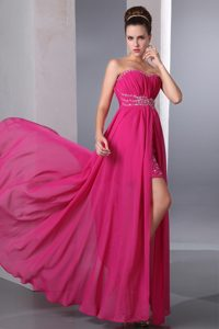 Fuchsia Sweetheart Floor-Length Beaded Ruched Homecoming Princess Dress