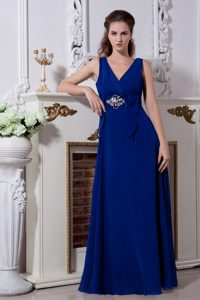 V-Neck Floor-Length Appliqued Vintage Homecoming Dress in Royal Blue in Granby