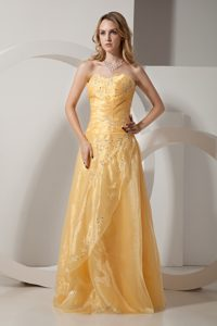 Yellow Sweetheart Floor-Length Appliqued Homecoming Dress for Junior in Barrie