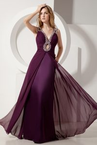 Burgundy Floor-Length Column Ruched Homecoming Dress with Beaded Neckline