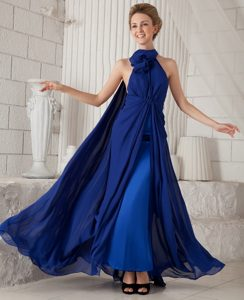 Royal Blue High-Neck Ankle-Length Homecoming Dress with Watteau Train and Flower