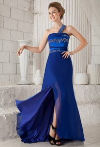 Royal Blue One-Shoulder Brush Train Beaded Homecoming Dress with Slit and Cutout