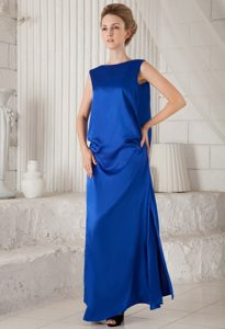 Blue Bateau Ankle-Length Homecoming Dress with Slits and Drapped Back in Ajax