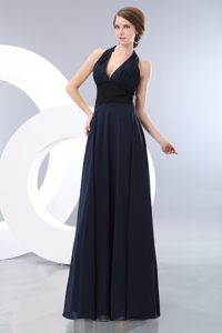 Halter Navy Blue Floor-Length Empire V-Neck Vintage Homecoming Dress in Laval