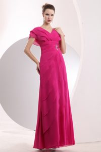 V-Neck Hot Pink Layered Empire Cap Floor-Length Appliqued Homecoming Dress