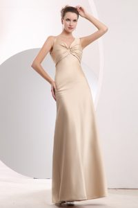 Simple Champagne Sheath Floor-Length Straps Satin Vintage Homecoming Dress