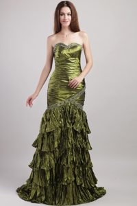 Olive Green Mermaid Ruffled Brush Train Beaded Layered Homecoming Queen Dress