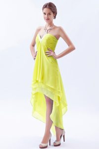 Yellow-Green High-Low Strapless Homecoming Cocktail Dress with Slot Neckline