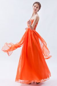 Orange Strapless Floor-Length Empire Beaded Homecoming Dance Dress in Nantes